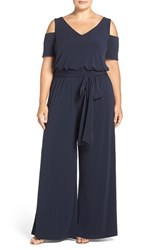 Mynt Plus Size Women's 1792 Belted Jersey Cold Shoulder Jumpsuit Black Iris