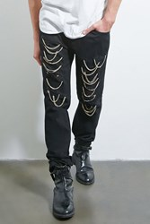 Forever 21 Dope Chain Link Distressed Jeans Black