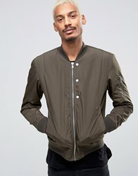 Esprit Quilted Nylon Bomber Jacket In Khaki Khaki Green
