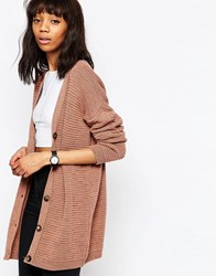Asos Chunky Boyfriend Cardigan In Wool Mix Yarn Blush Pink