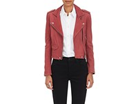 Iro Women's Ashville Leather Moto Jacket Dark Pink Pink Dark Pink Pink