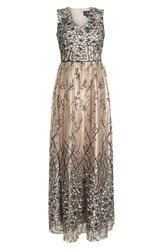 Alex Evenings Sleeveless Embroidered Gown Nude Multi