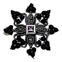 Goldmajor Marcasite And Sterling Silver Brooch Silver Black