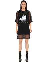 Mcq By Alexander Mcqueen Printed Mesh And Cotton Dress
