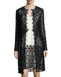 Lela Rose Long Sleeve Scroll Guipure Lace Jacket Black