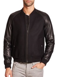 Vince Wool And Leather Bomber Jacket Black