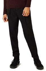 Topman Men's Pleated Tapered Fit Trousers Black
