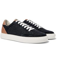 Brunello Cucinelli Leather Suede And Flannel Sneakers Navy