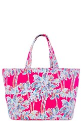 Lilly Pulitzer Print Canvas Beach Tote Pink Flamingo