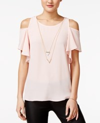 Amy Byer Bcx Juniors' Ruffle Sleeve Cold Shoulder Top With Necklace Denim