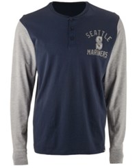 47 Brand '47 Men's Seattle Mariners Downfield Henley Long Sleeve T Shirt Navy Gray