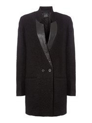 Replay Boucle Wool Blend Coat Black