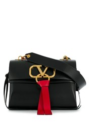Valentino Garavani Medium V Ring Shoulder Bag Black