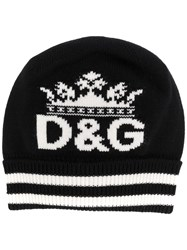 Dolce And Gabbana Logo Knitted Beanie Hat Black