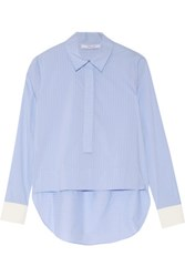 Derek Lam 10 Crosby By Striped Crepe Paneled Cotton Blend Shirt Sky Blue