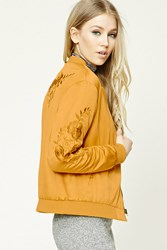 Forever 21 Floral Embroidered Satin Bomber