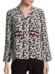 Derek Lam Long Sleeve Silk Pajama Blouse Redwood