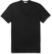 James Perse Slim Fit Combed Cotton Jersey T Shirt Black