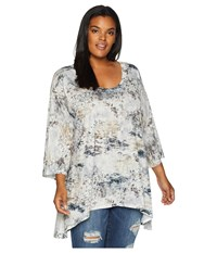 Nally And Millie Plus Size Grey Abstract Print Tunic Multi Blouse