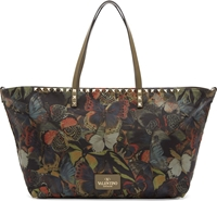 Valentino Army Green Camo Butterfly Small Rockstud Tote