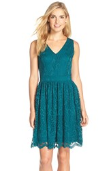 Gabby Skye 'Pebble Flower' Lace Fit And Flare Dress Emerald