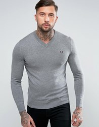 Fred Perry V Neck Cotton Jumper In Grey Grey