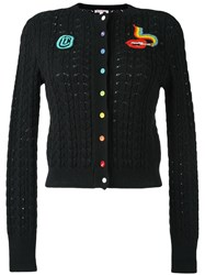 Olympia Le Tan Beaded Cable Knit Cardigan Black