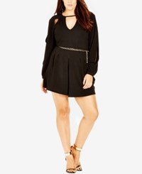 City Chic Plus Size Long Sleeve Cutout Romper Black