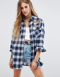 Reclaimed Vintage Checked Shirt With Flame Patches Blue