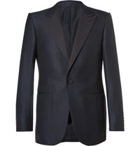 Ermenegildo Zegna Blue Slim Fit Prince Of Wales Checked Wool And Cotton Blend Tuxedo Jacket Navy