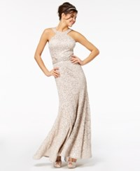 B. Darlin B Juniors' Sequined Lace Halter Gown Nude Silver