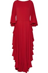Lanvin Ruffled Crepe De Chine Gown Crimson