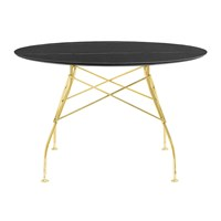Kartell Glossy Gold Round Table Black Marble