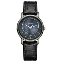 Rado R14064915 Women's Diamaster Mother Of Pearl Date Leather Strap Watch Black