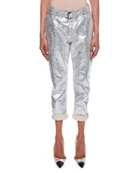 Tom Ford Rolled Cuff Metallic Coated Cropped Boyfriend Jeans Silver