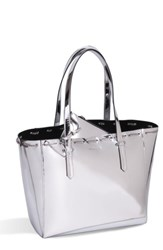 Kendall Kylie Izzy Chain Faux Leather Tote Metallic Silver Specchio