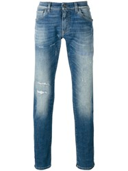 Dolce And Gabbana Distressed Front Jeans Blue