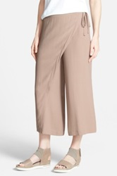 Eileen Fisher Wrap Front Wide Leg Silk Crop Pants Petite Brown