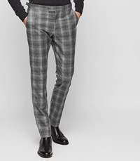 Reiss Russell Slim Tailored Check Trousers In Soft Grey