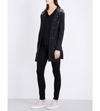 The Kooples Metallic Embroidered Cashmere Cardigan Gry01