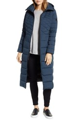 Bernardo Quilted Long Coat With Down And Primaloft Fill Deep Water