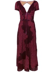 Marchesa Notte Plunge Neck Lace Panel Dress Pink And Purple