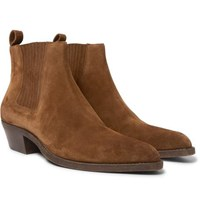 Saint Laurent Dakota Brushed Suede Chelsea Boots Tan