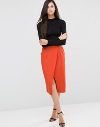 Finders Keepers Sweet Talker Midi Skirt Terracotta Orange