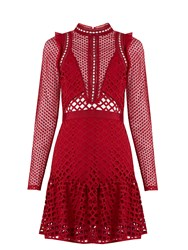 Self Portrait Hall Lace Mini Dress Red