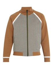 Fendi Checked Zip Through Cotton Blend Track Jacket Brown Multi