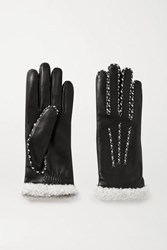 Agnelle Marie Louise Alpaca Lined Leather Gloves Black