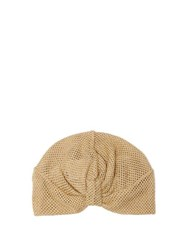 Missoni Mare Knotted Metallic Mesh Turban Hat Gold