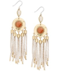 Lucky Brand Gold Tone Stone And Beaded Fringe Drop Earrings Created For Macy's