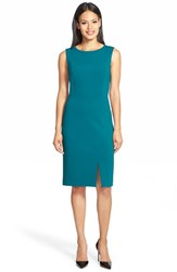 Women's Classiques Entier Back Zip Ponte Sheath Dress Teal Ocean